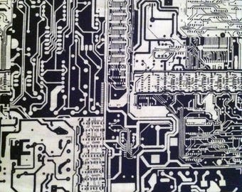 Circuit Board W&B fabric by the half yard
