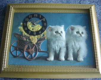 Great vintage frame cats cats square wall clock