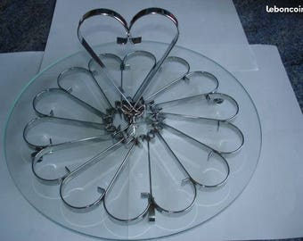 Nice cheese round tray with glass and metal