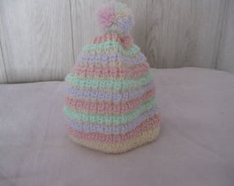 Multicolor with Pompom baby Hat