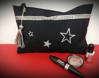 black and silver clutch starry out dressed pouch bag, storage pouch party season