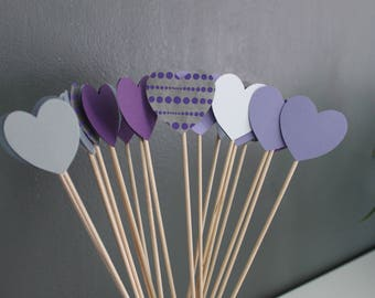 went 50 hearts purple and gray wedding decoration / sticks with hearts