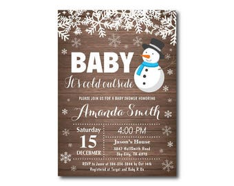 Winter Baby Shower Invitation. Baby its cold outside Baby Shower Invitation. Snowman. Boy or Girl Baby Shower Invitation. Printable Digital.