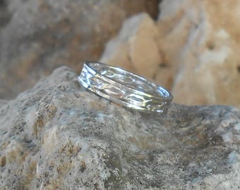 Twisted silver 950 wedding band