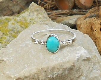 Woman silver 950 turquoise cabochon ring oval cut 8 x 6 mm gift for her