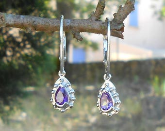 Stud earring, 925 sterling silver, Amethyst pear shape 6 x 4 mm faceted