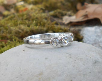 Ring silver 950 oxides CZ 3 and 3.5 mm, size on request, gift for her