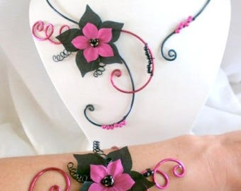 Black silk flower jewelry fuchsia