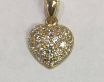 Solid 14K YELLOW gold SPARKLY bling clear cz solid heart pendant 1.20grams