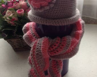 Hat and scarf set for girl