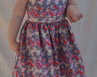 "Sleeveless fitted girl dress 24/36months pattern ""dinosaurs"""
