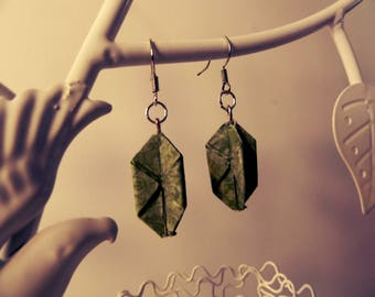 Green Origami Pearl Earrings