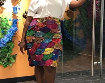 Ntoma African Scallop Detail Skirt - African wax print applique details (Ntoma/ Ankara)