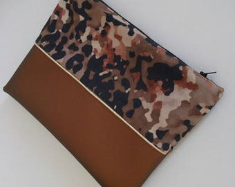 Faux leather/suede military pouch