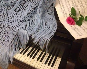 Crochet Shawl, Hand Crochet Triangle Shawl, Blue Fringe Shawl, Scarf, 75 Inches