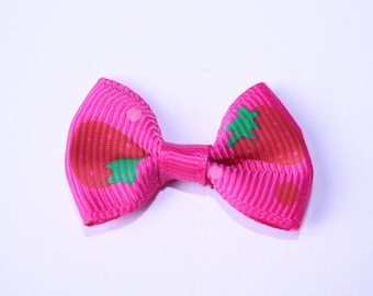 Pink Strawberry bow 3.5 cm