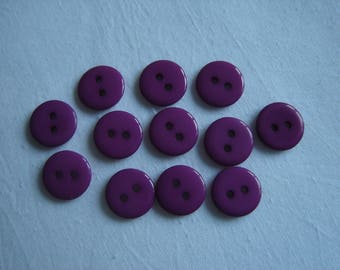 12 BUTTONS ROUND PLASTIC RESIN PURPLE / / 12 MM