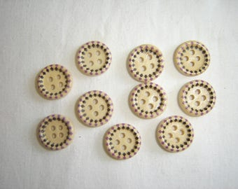 10 FANCY BABY CHILD WOOD BUTTONS / / 15 MM / / SET 5
