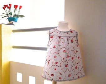 halterneck summer dress white with pink flowers, country pattern and matching bandana