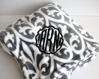 Monogrammed Damask Throw, Gray and White Blanket, Personalized Throw, Embroidered Blanket, Custom Mono Throw, Wedding Gift Blanket, Throw