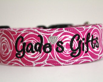 Pink Rosettes Collar, Personalized Dog Collar, Custom Collar, Embroidered Dog Collar, Girly Collar, Floral Dog Collar, Dog Collar, Pet