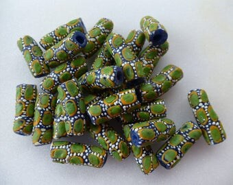 African recycled glass tube beads style ethnic set of 4 green 24 mm