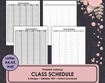 college class schedule template
