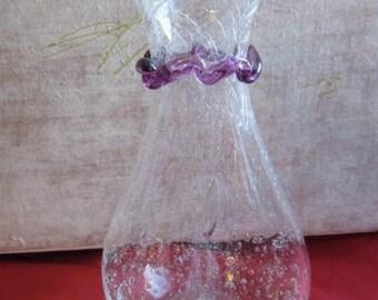 White glass bubbles and corole purple pitcher * 16 cm * vintage France