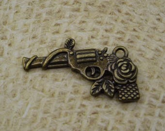 5 charm gun and rose flower metal 30mm