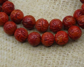 6 carved round coral beads 12mm lotus flower