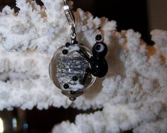 Pendant frog black glass and 925 sterling silver