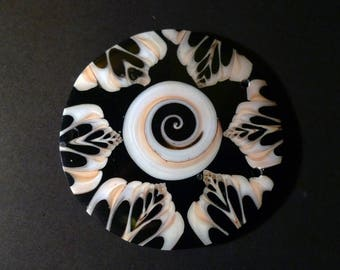 1 spacer bead from Nepal in mother-of-Pearl and shell pink, black, white 6 cm