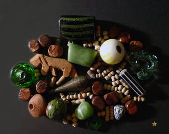65 glass African beads, brass, wood, seed and terracotta