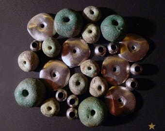 26 beads Moroccan terracotta green and silver