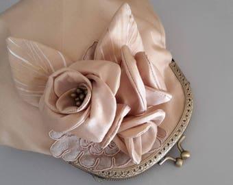 Champagne silk pouch