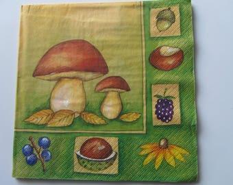 set of 2 paper napkins thick representative mushroom autumn fruits