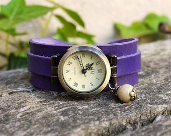 Leather watch on deep indigo blue leather strap handmade vintage patina