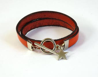 Orange leather bracelet with Silver Clasp and star charm - bracelet leather women