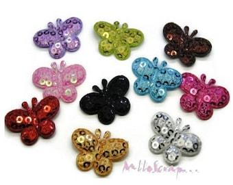 Set of 11 butterflies multicolor sequin fabric bright scrapbooking. (ref.310). *.