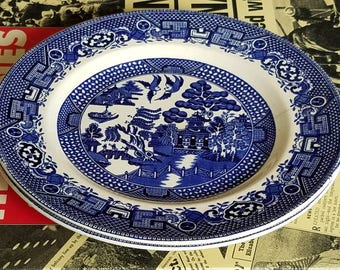 Willow Johnson Bros England  Blue Pattern Plates- 3 Available