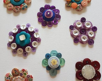Button Flowers on Canvas
