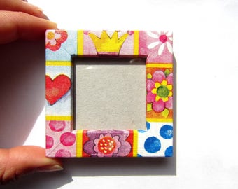 "Magnet picture frame colorful wood - ""Greed"" - custom"