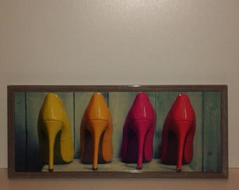 "Canvas 3d ""Multi-colored shoes"" framed"