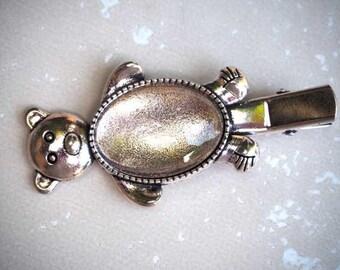 Barrette clip, antique silver rose, bear, 16x25mm cabochon shape