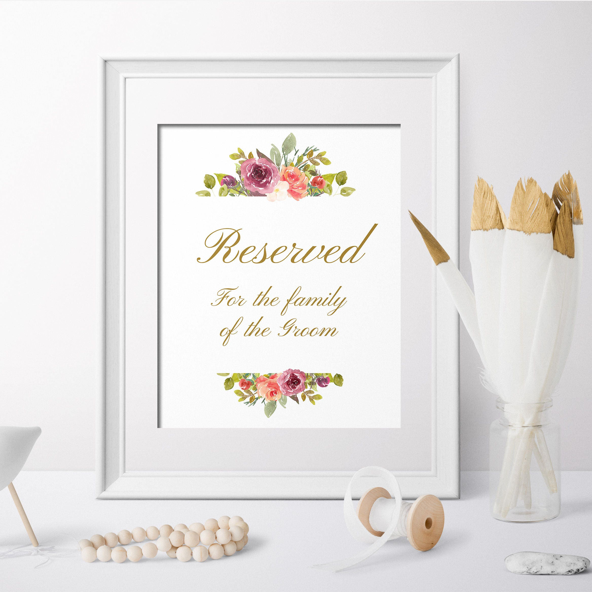 Reserved Table Sign Wedding For Family Floral Printable Seating