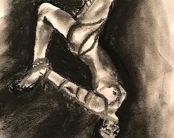 A3 ORIGINAL charcoal Drawing of Bonadged Woman