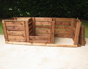 Compost Bin - Triple Slatted Sturdy Wooden Garden Composting Box/Removable FrontBoards/Optional Lids + Aerating-Bases/Garden Compost Maker