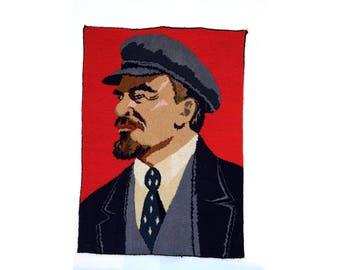 LARGE carpet rug Vladimir LENIN painting Soviet USSR Russian vintage portrait