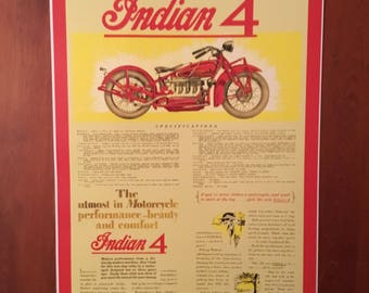 Vintage Indian motorcycle reproduction poster