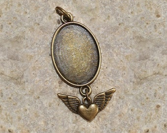 Bronze support 18 X 25 mm oval cabochon pendant